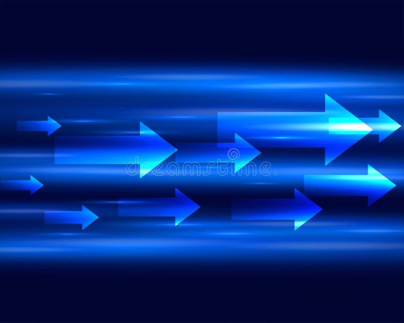 Striscia palida blu con le frecce che muovono in avanti fondo illustrazione vettoriale