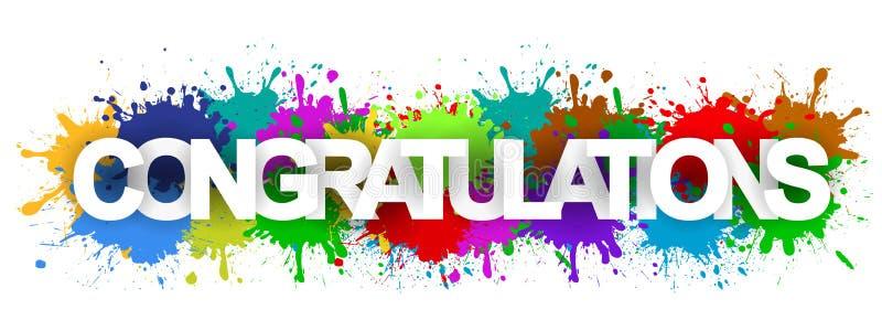 Striscione di congratulazioni con splash colorato - Vettore immagine stock