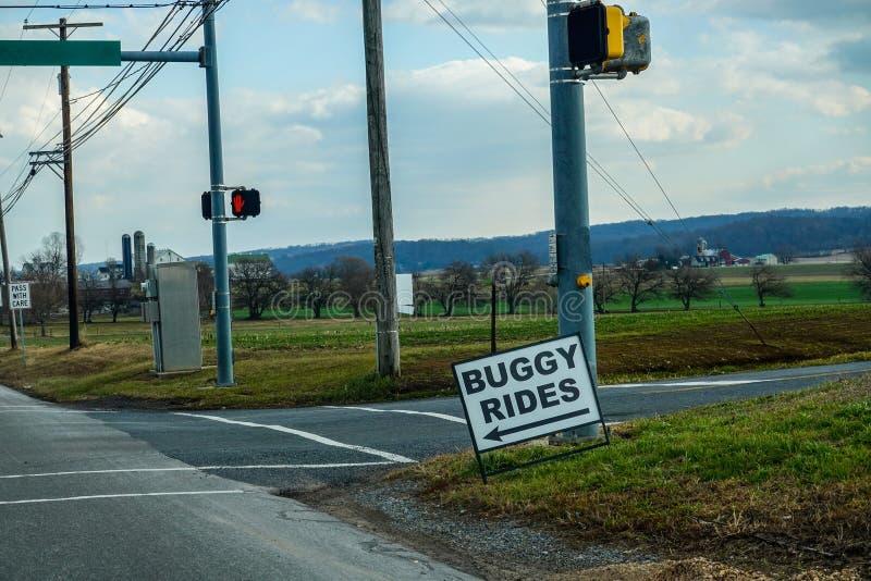 Striscione di una strada che pubblicizza Buggy Rides immagine stock