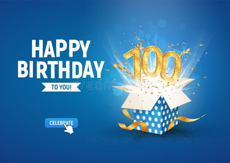 Striscione per 100 anni con scatola regalo di burst aperta Modello celebrazione centesimo compleanno e testo astratto in blu illustrazione vettoriale