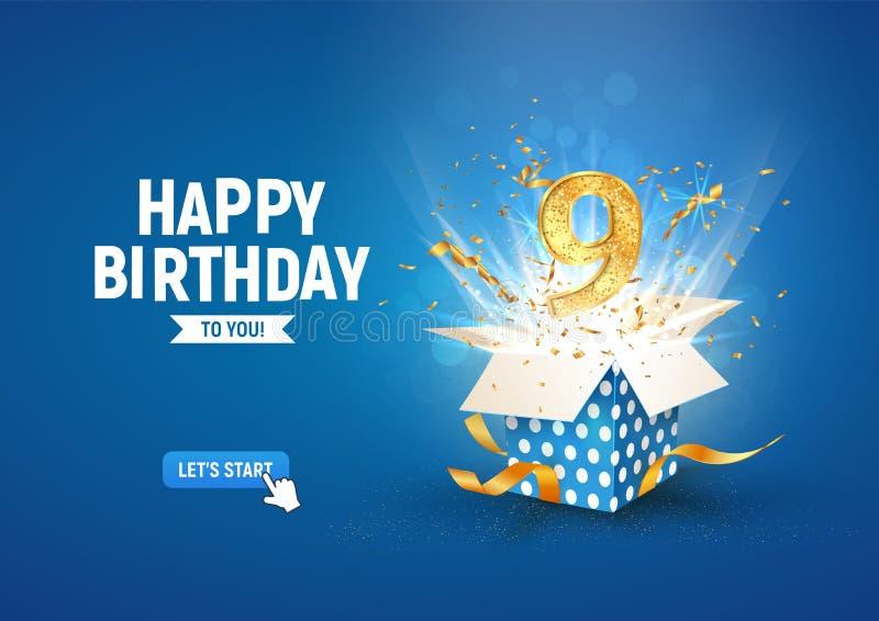 Striscione per il 9° anniversario con scatola regalo di burst aperta Modello celebrazione nono compleanno e testo astratto su sfo illustrazione vettoriale