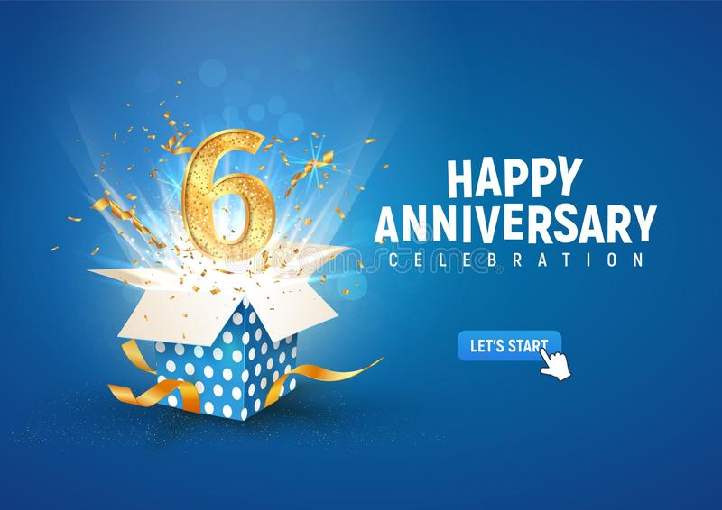 Striscione per il 6° anniversario con scatola regalo di burst aperta Modello celebrazione sesto compleanno e testo astratto in ba illustrazione vettoriale