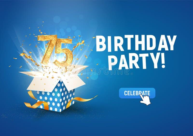 Striscione per il 75° anniversario con scatola regalo di burst aperta Modello 75 celebrazioni di compleanno e testo astratto in b illustrazione vettoriale