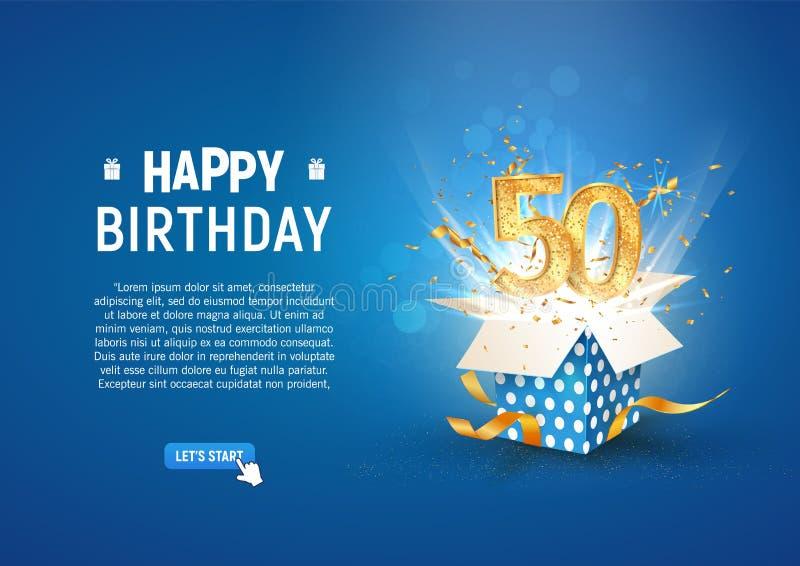 Striscione per il cinquantesimo anniversario con scatola regalo di burst aperta Modello celebrazione cinquantesimo compleanno e t illustrazione vettoriale