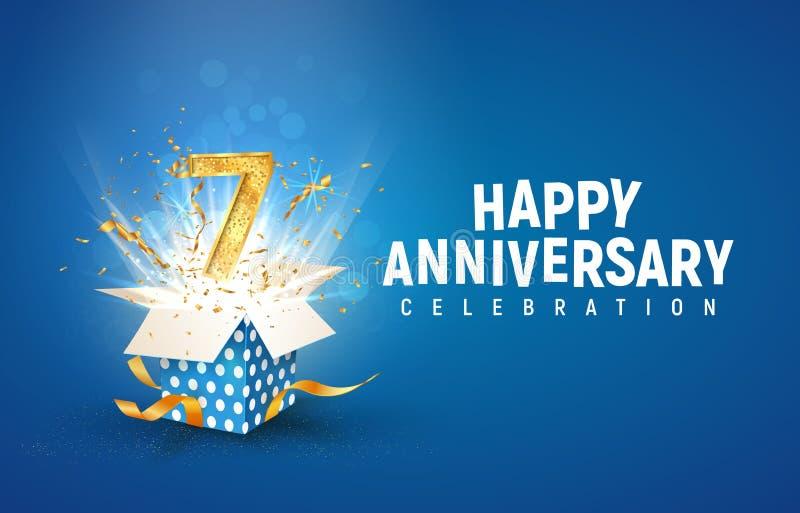 Striscione per il settimo anniversario con scatola regalo di burst aperta Modello di celebrazione del settimo compleanno e testo  illustrazione vettoriale