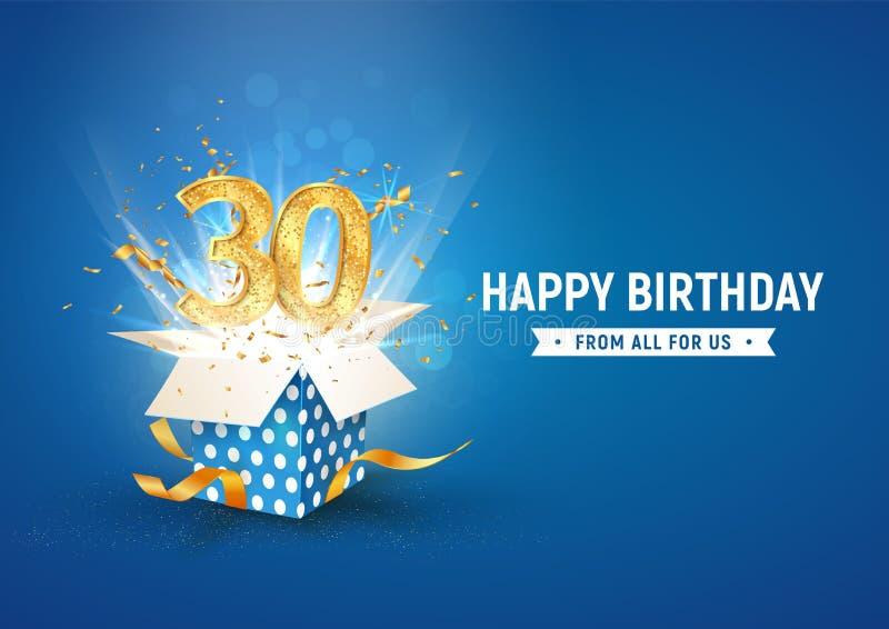 Striscione per il trentesimo anniversario con scatola regalo di burst aperta Modello celebrazione trentacinque anni e testo astra illustrazione di stock