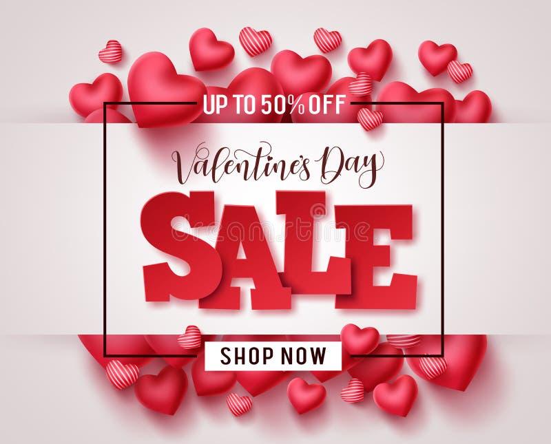 Striscione promozionale vettoriale vendita dei biglietti di San Valentino Testo 3D di Valentine sale illustrazione di stock