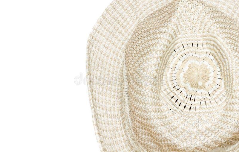 Stro geweven die hoed op Witte Achtergrond wordt geïsoleerd royalty-vrije stock afbeeldingen