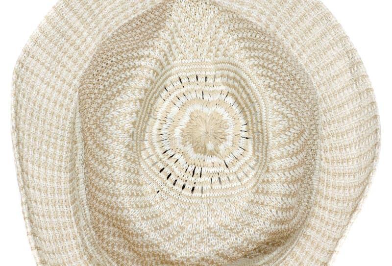 Stro geweven die hoed op Witte Achtergrond wordt geïsoleerd stock afbeeldingen