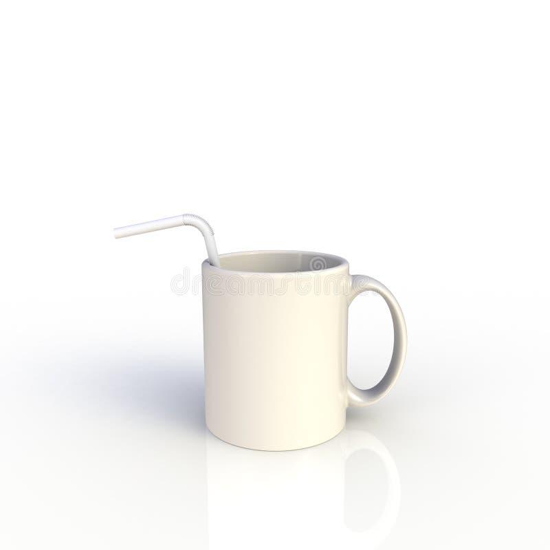 Stro in witte koffiebeker, geïsoleerd op witte achtergrond Malplaatje van de Mock omhoog voor toepassingsontwerp Apparatuur voor  royalty-vrije illustratie