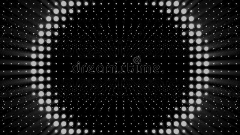 Strobe white lights flashing and blinking on black background, seamless loop. Animation. Wall of spotlights, monochrome. Strobe white lights flashing and stock illustration