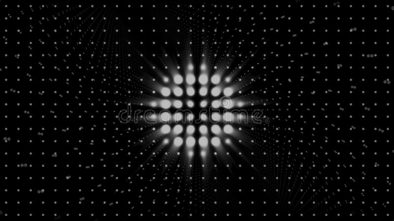 Strobe white lights flashing and blinking on black background, seamless loop. Animation. Wall of spotlights, monochrome. Strobe white lights flashing and royalty free illustration