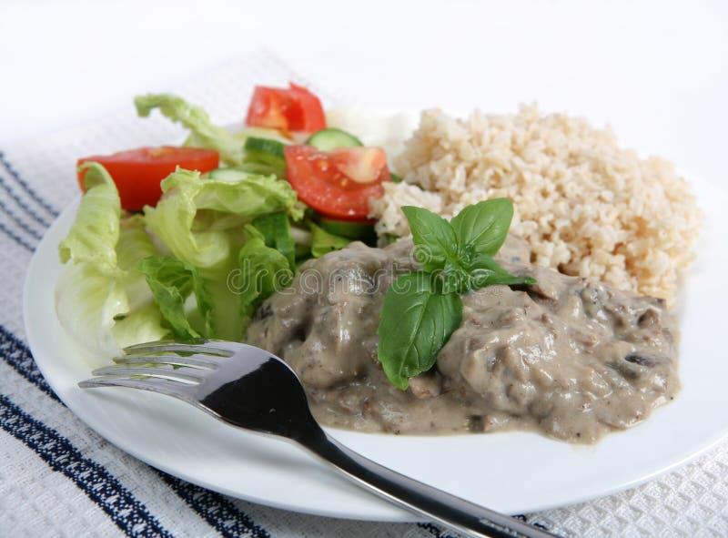 Stroganoff rice and salad high key stock image
