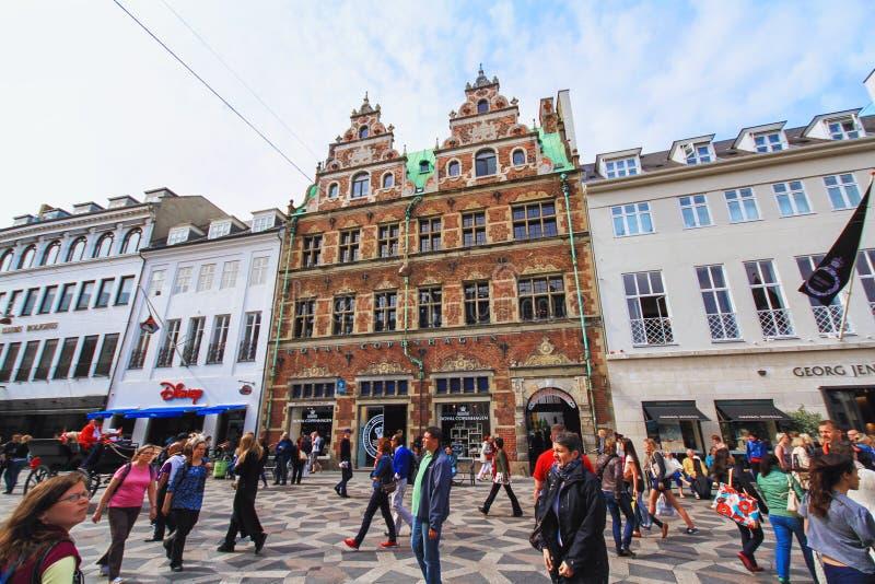Stroget en el centro de Copenhague fotografía de archivo