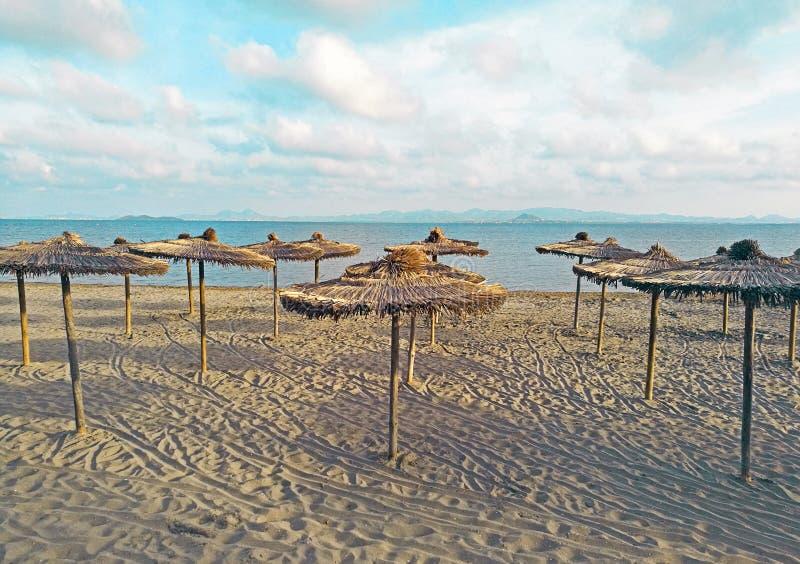 Stroh bedeckte Regenschirm auf dem Strand mit T?rkiswasser im Hintergrund stockfotografie