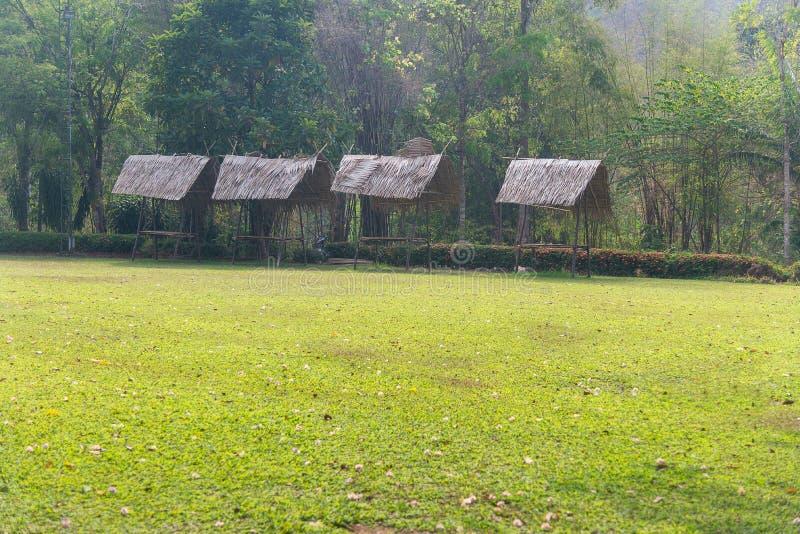 Strohdachhaus und ein grüner Garten mit blauem Himmel im Land stockfotografie