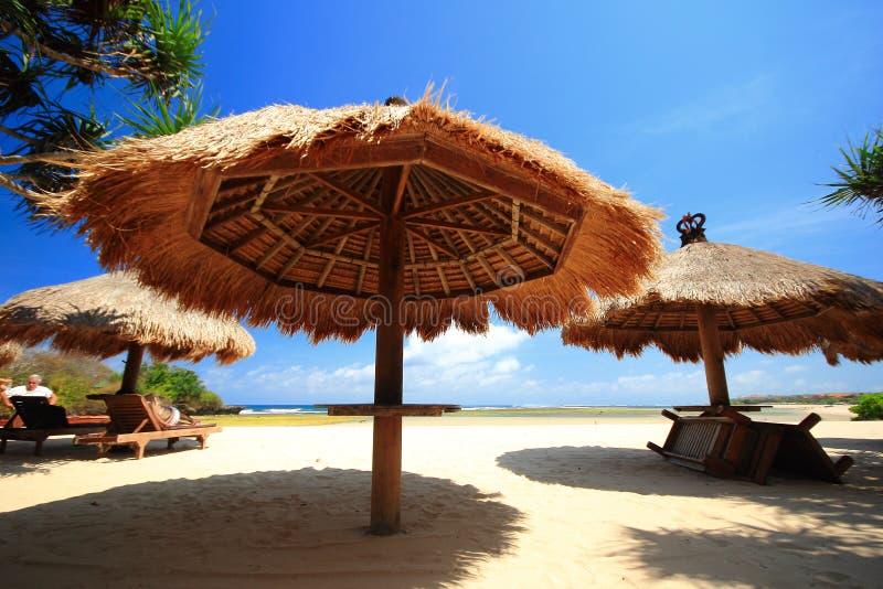 Strohdachregenschirm auf Strand lizenzfreie stockbilder