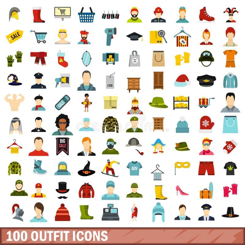 100 strojów ikon ustawiających, mieszkanie styl ilustracja wektor