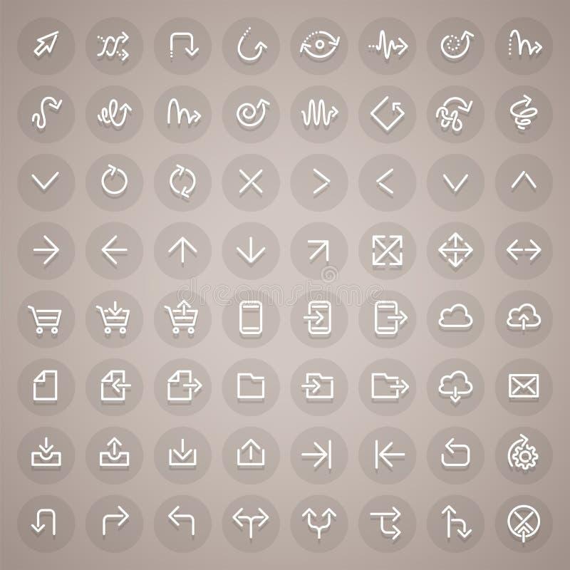 Stroke Arrow Round Icons Set royalty free illustration