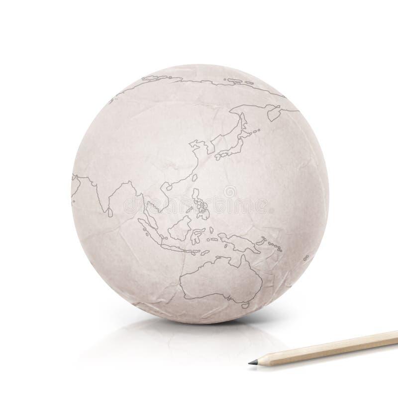 Stroke Asia & Australia map on paper globe. On white background stock images