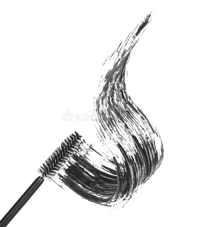 Stroke of black mascara with applicator brush,. Isolated on white macro royalty free stock photography