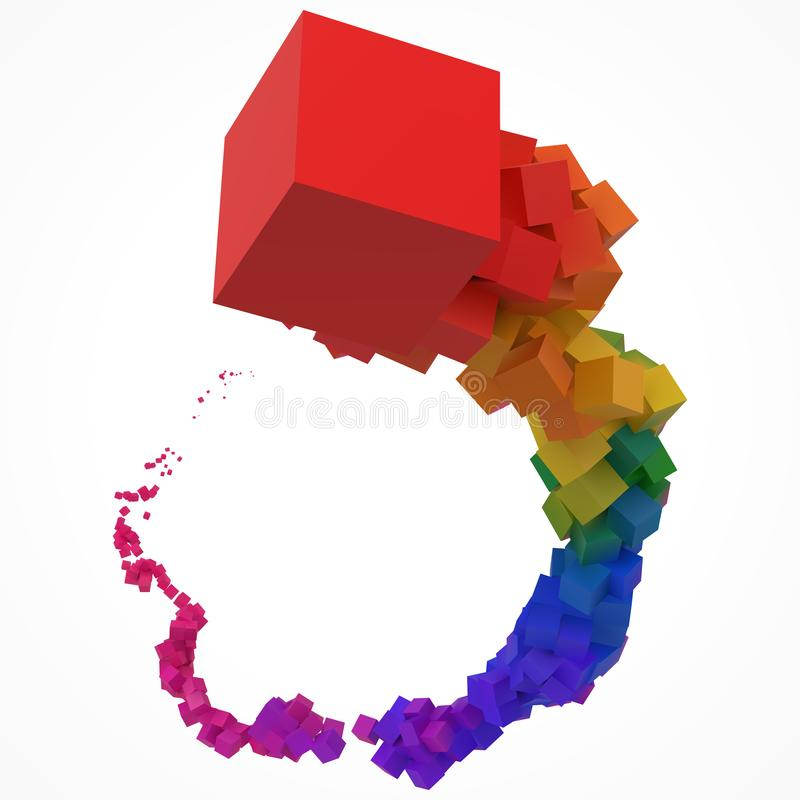 Stroke of colorful cubes moving on air. 3d style vector illustration vector illustration