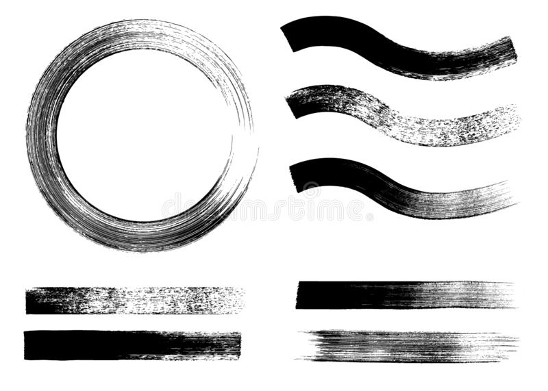 Stroke flat brush. Black modern paint stripe set vector illustration