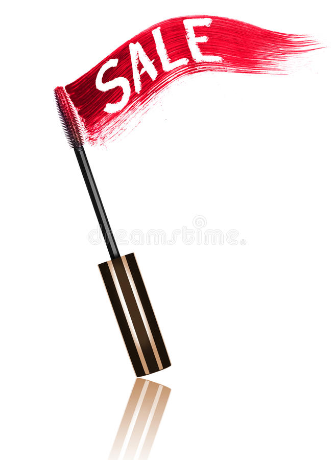 Stroke of red mascara with inscription Sale and applicator brush. Isolated on white background stock images