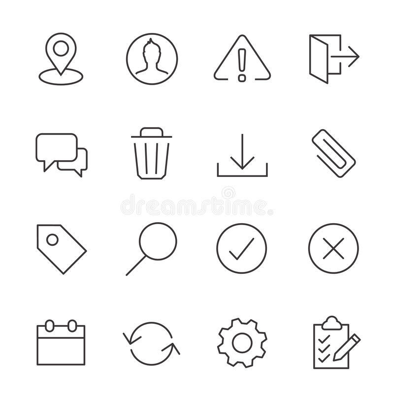 Stroked interface icon set. royalty free illustration