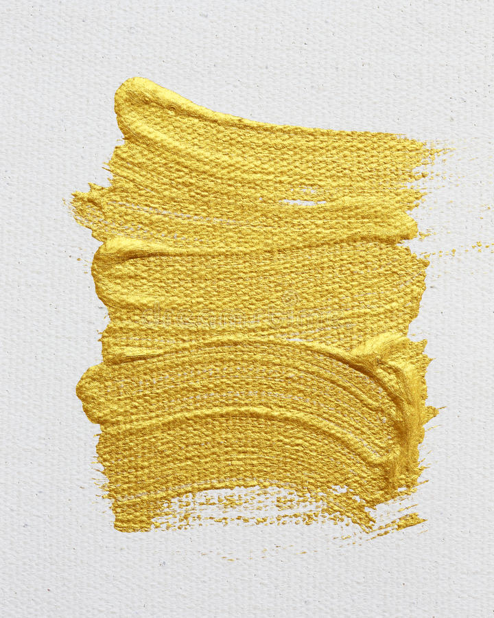 Strokes of gold acrylic paint isolated on white vector illustration