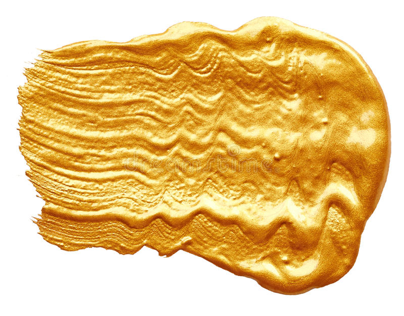 Strokes of golden paint stock image