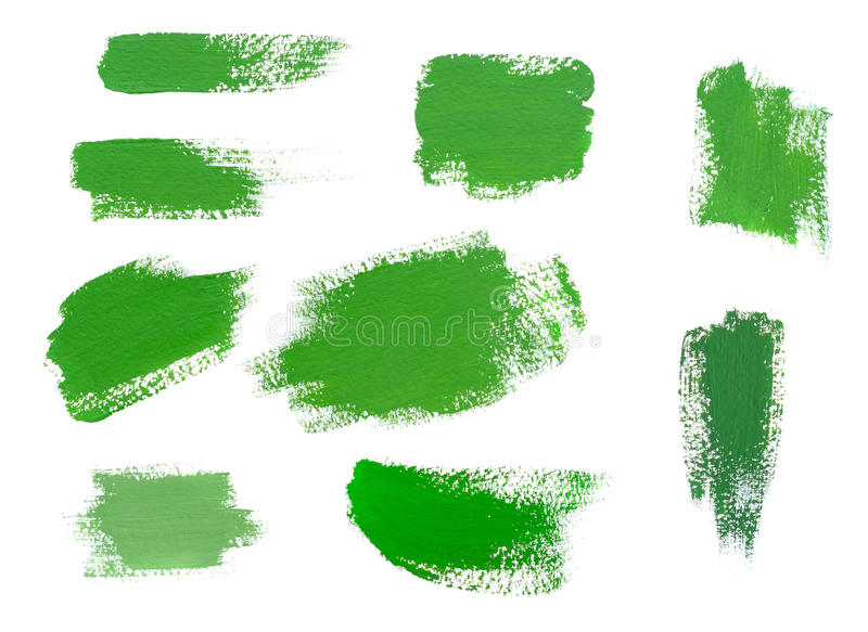 Strokes of green paint isolated on white background. Brush Strokes of green paint isolated on white background. Set royalty free stock photos