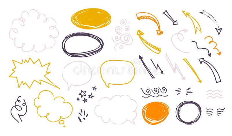 Vector collection of hand drawn textured sketch doodle elements - text balloons, speech bubbles, text box, arrow, cloud, smoke, st royalty free illustration