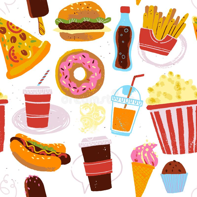 Vector seamless pattern with tasty fast food illustration - donut, pizza, burger, hot dog, coffee to go - isolated on white backgr vector illustration