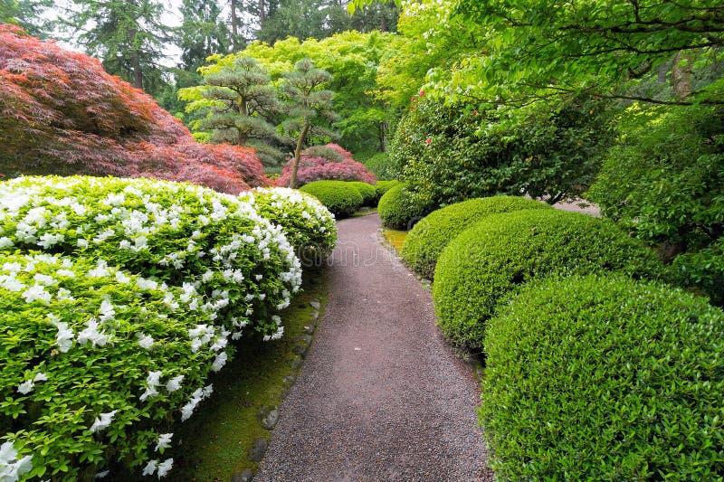 Strolings-Garten-Weg im japanischen Garten lizenzfreies stockbild