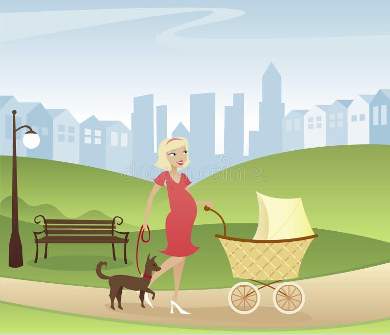 Stroll através do parque ilustração royalty free