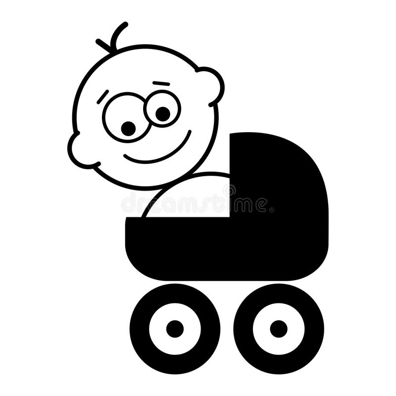 Stroller. Cartoon baby with stroller on white background royalty free illustration