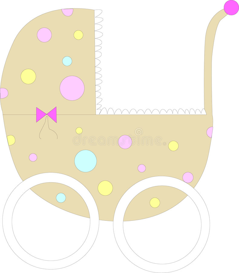Stroller. Baby stroller with pink, blue and yellow polka dots vector illustration