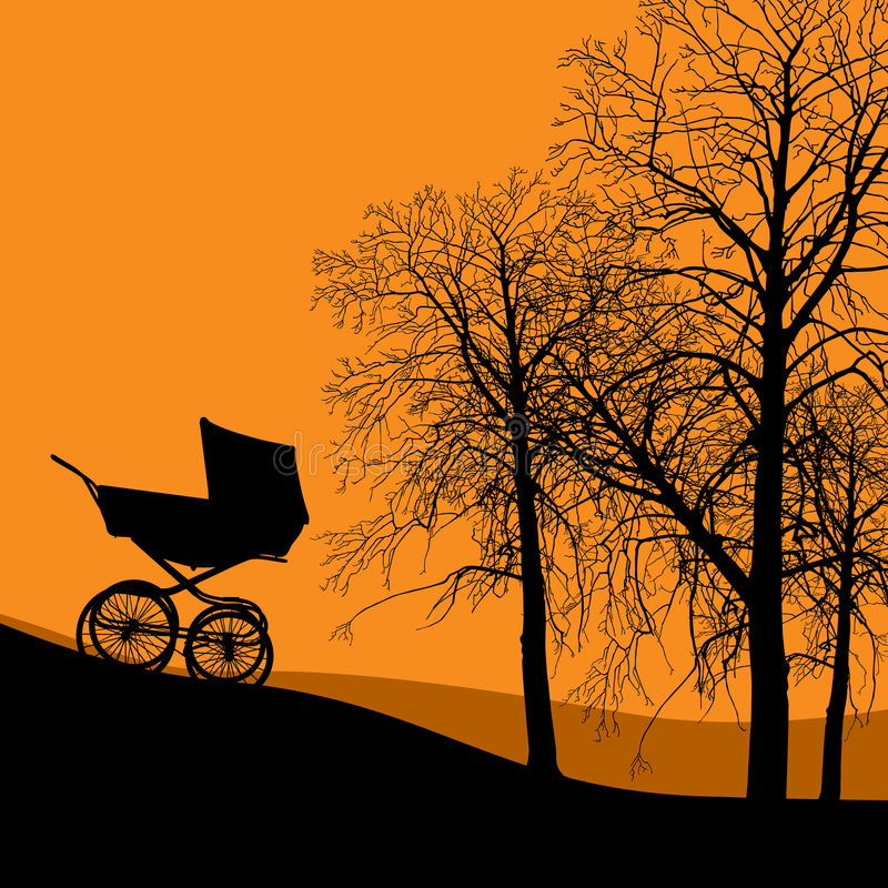 The stroller. Empty stroller coming down the hill royalty free illustration