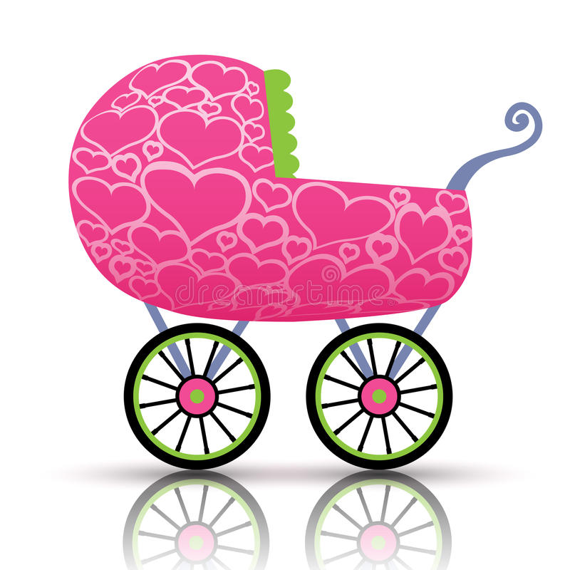 Stroller of hearts for baby. Illustration of heart stroller for the baby royalty free illustration