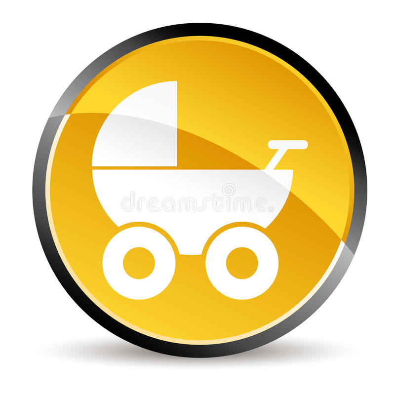 Stroller icon. Yellow stroller icon in vector mode vector illustration