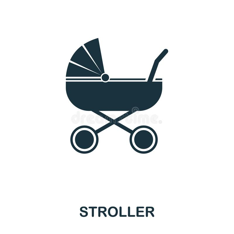 Stroller icon. Mobile apps, printing and more usage. Simple element sing. Monochrome Stroller icon illustration. Stroller icon. Mobile apps, printing and more vector illustration