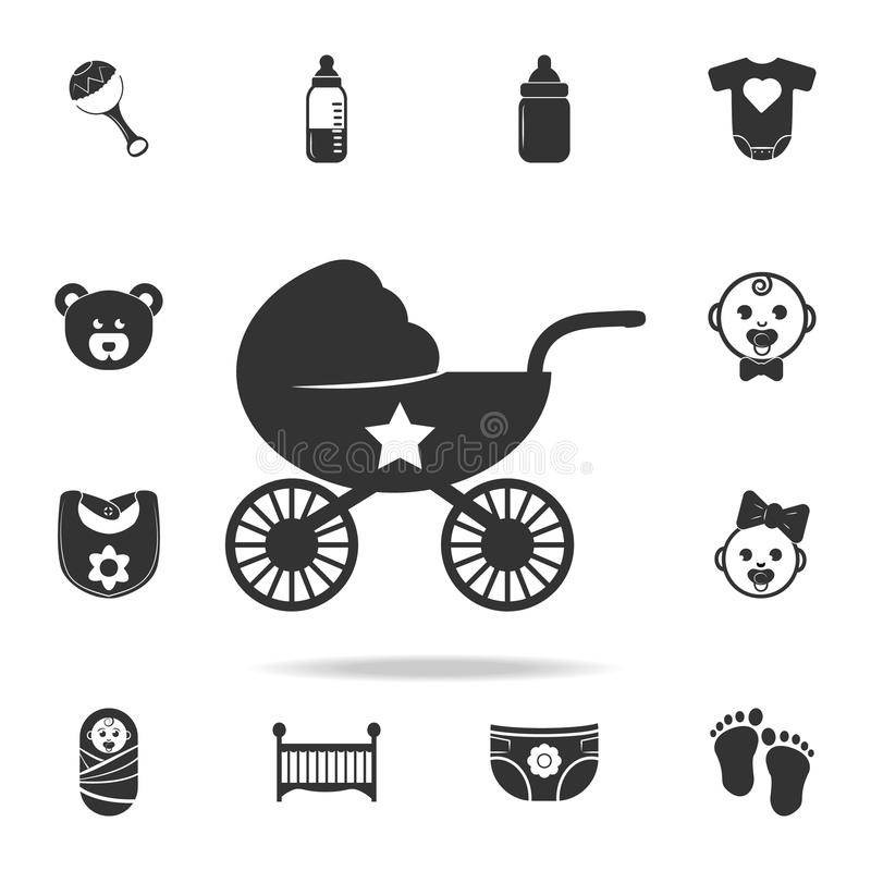 Stroller icon. Set of child and baby toys icons. Web Icons Premium quality graphic design. Signs and symbols collection, simple ic. Ons for websites, web design stock photo