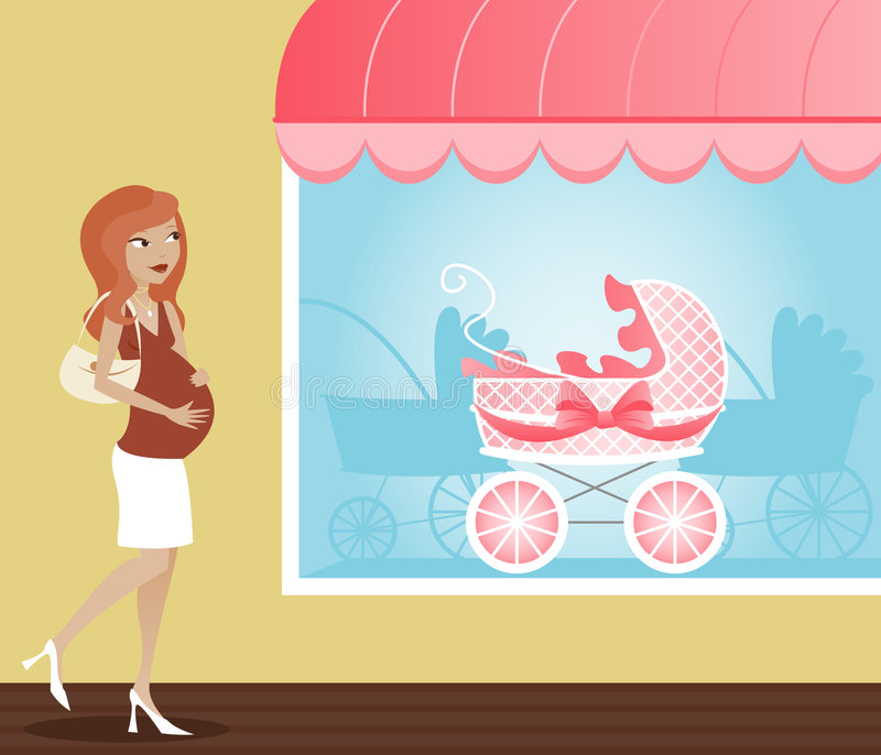 Stroller Shopping royalty free stock photography