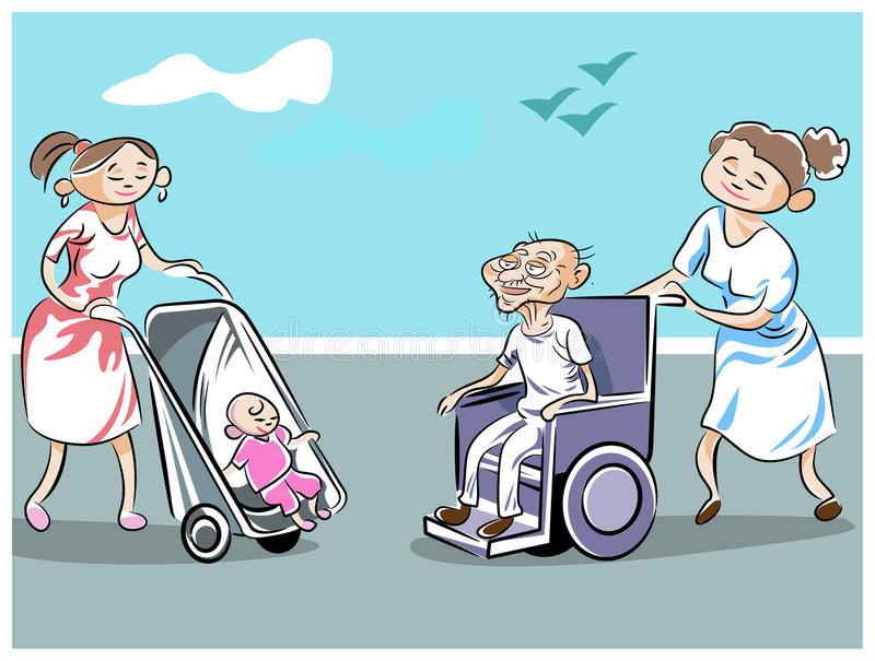 Stroller and wheelchair. Opposites attract between new born in wheels and aged in wheels