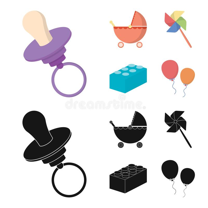 Stroller, windmill, lego, balloons.Toys set collection icons in cartoon,black style vector symbol stock illustration web. Stroller, windmill, lego, balloons.Toys stock illustration