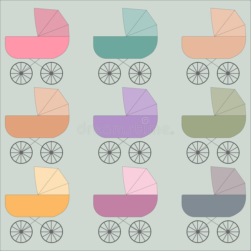 Strollers illustration. Illustration of multiple multicolor strollers stock illustration