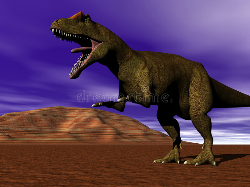 Strolling. Meat eating Dinosaur allosaurus strolling stock illustration