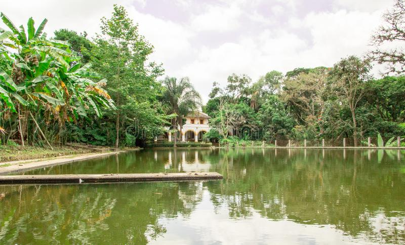 Strolling a day in the lake of the ex-hacienda El Lencero in Jalapa Veracruz Mexico. A beautiful lake that adorns the walk by the lake and in the bottom a part royalty free stock photos