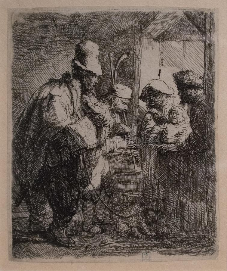 The Strolling Musicians from 1635. by Rembrandt. The Strolling Musicians from 1635. This is an impression from a reproduction plate. An graphic artwork make by royalty free illustration